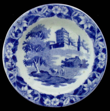 1840 Dark Blue Historical Staffordshire Cup Plate