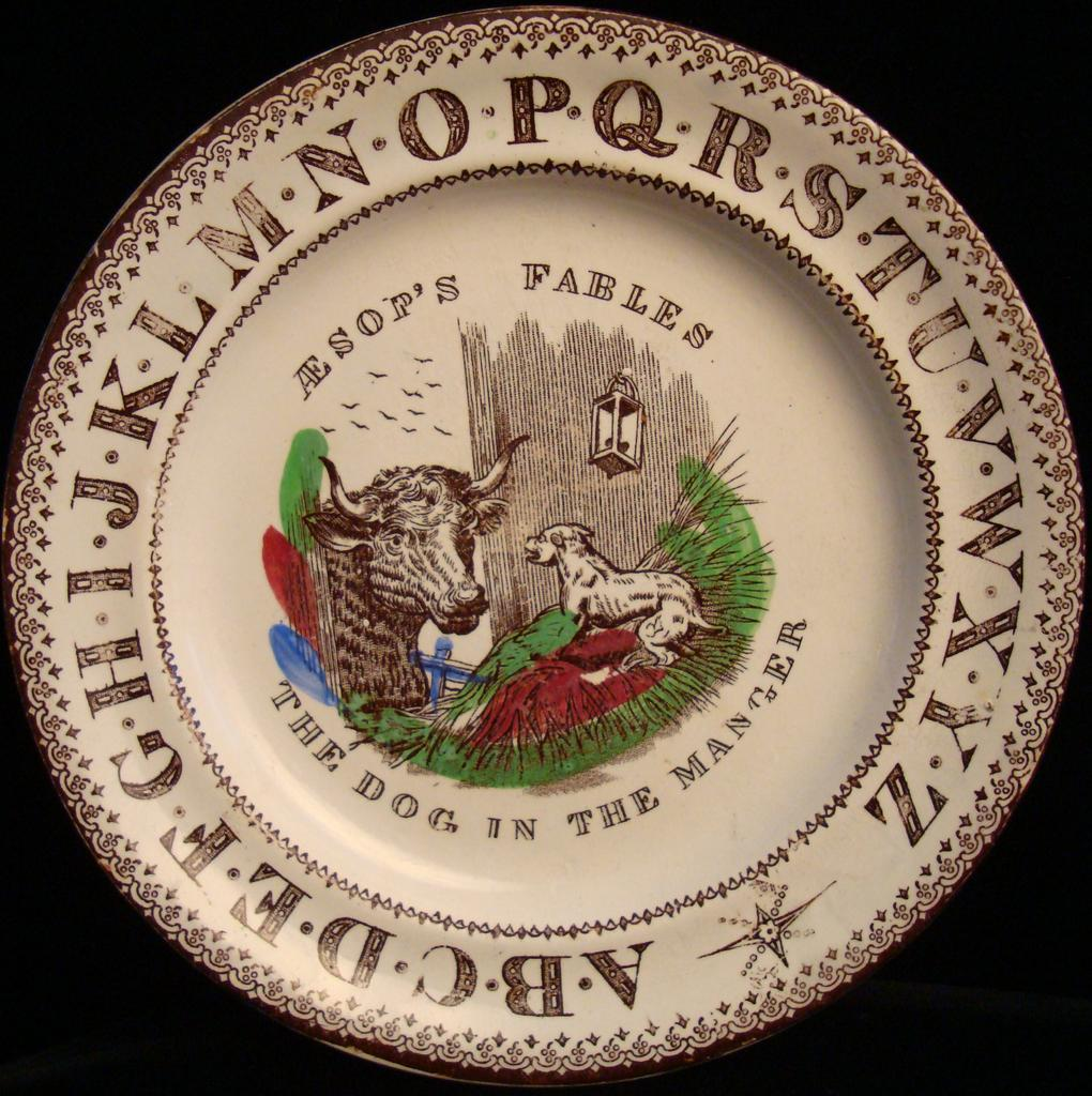 ABC Child's Plate ~ Dog in the Manger 1880