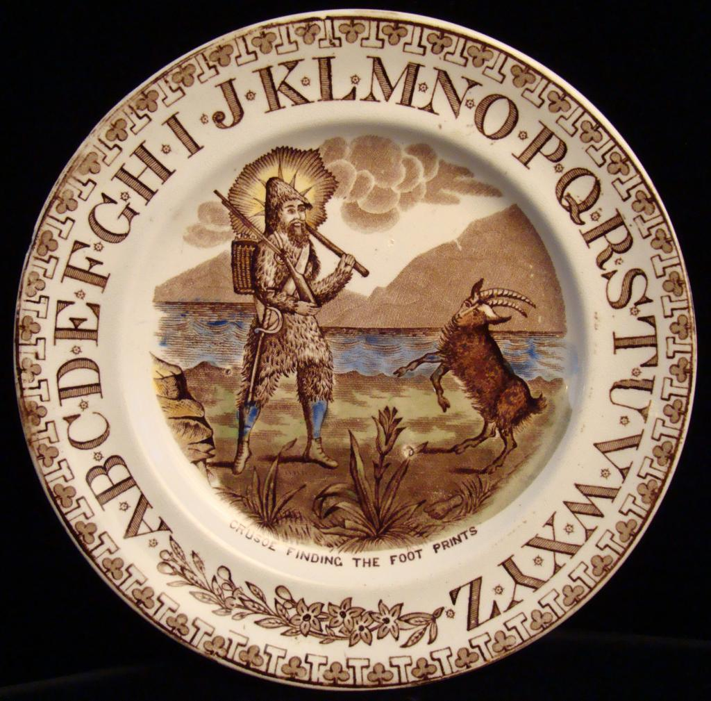 Robinson Crusoe + Goat ~ ABC Plate 1880