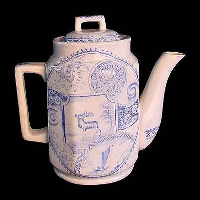 Child's Blue Transferware Teapot ~ Deer Sailboat Moon