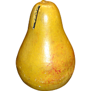 19th century Figural PEAR Redware Money Bank American Folk Art Pottery Fruit 1870