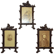Group of 3 Black Forest Hand Carved Picture Frames