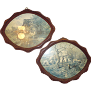 Pair of Unusual Oval Tramp Art Frames c. 1900