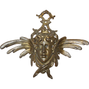 Vintage Bronze Art Nouveau Ornamental Face