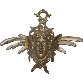 Vintage Bronze Art Nouveau Ornamental Face