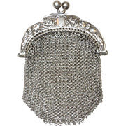 Elegant 800 Silver Mesh Chatelaine Coin Purse C. 1890's