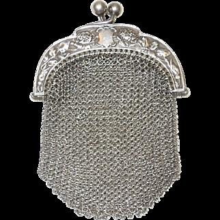 Elegant 800 Silver Mesh Chatelaine Coin Purse C. 1890's