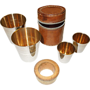 Vintage Traveling Shot Glasses in Leather Zippered Case