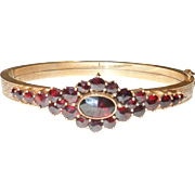 Antique Victorian Bohemian Garnet Bracelet Bangle
