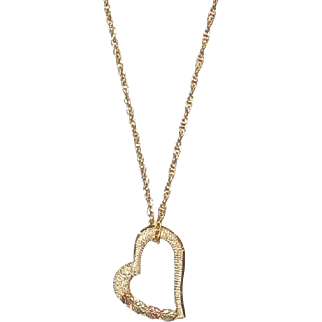 10K Gold Heart Pendant or Charm on Gold Filled Chain