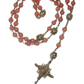 800 Silver Bohemian Filigree and Rose Glass Rosary.