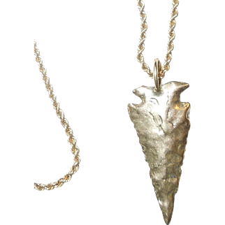 14K Gold Arrowhead Pendant and Chain