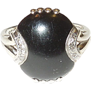 Onyx and Diamond Ring in 14K White Gold
