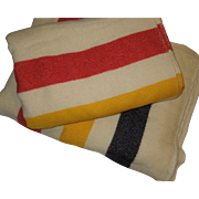 Beautiful Matched Pair of Wool Striped Blankets