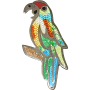 Vintage Sterling Silver and Enamel Parrot Brooch