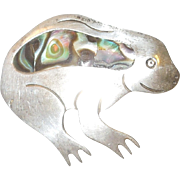 Vintage Sterling and Abalone Frog Brooch Mexico