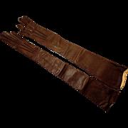 "Vintage Operal Length Kid Leather Gloves Size 5 3/4"""