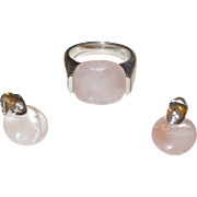 Modernist Sterling and Pink Quartz Ring and Earrings