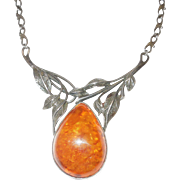 Gorgeous Older Baltic Amber and Sterling Silver Necklace