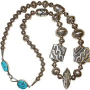 Thomas Singer Sterling Silver and Turquoise Navajo Necklace