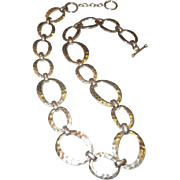 Vintage Hammered Link Sterling Silver Necklace