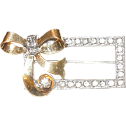 Sweet Vintage Sterling and Gold Filled Bow and Box Brooch