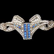 Large Art Nouveau Saphire and Diamond Paste Brooch