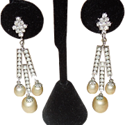 Luscious Vendome Rhinestone and Faux Pearl Earrings