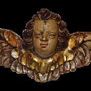 1700's Carved Wood Polychrome Putti Angel Church Decoration