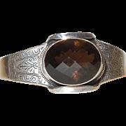 Vintage Sterling Silver With Smoky Quartz Cuff Bracelet