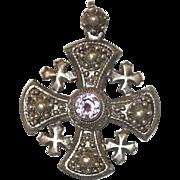Sterling Silver Jerusalem Cross With Amethyst