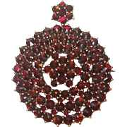Antique Bohemian Garnet Pendant Brooch