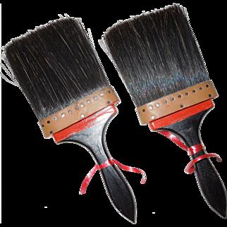 "Pair 1920's-30's Unused Horsehair Paint Brushes 4 1/2"" Bristles"