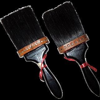 "Pair 1920's-30's Unused Horsehair Paint Brushes 4"" Bristles"
