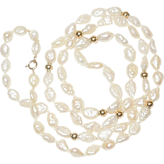 Vintage Freshwater Rice Pearls with 14K Spacers