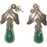 Older Sterling Silver and Turquoise Post earrings Mexico