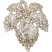Rhinestone Leaf Dress Clip