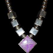 Fabulous Signed Sterling Silver Purple Quartz Necklace