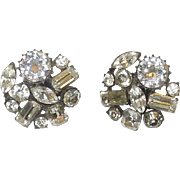 Vintage Claudette Rhinestone Clip On Earrings