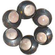 N.E.From of Denmark Sterling Silver Rose Quartz Brooch