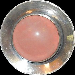 N.E. From of Denmark Sterling Silver Rose Quartz Brooch