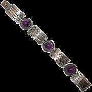 Mid Century Germany Perli Amethyst Silver Bracelet