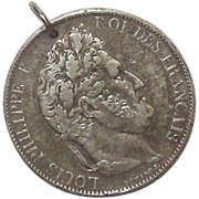 1845 France Louis Philippe I 5 Francs Coin Pendant