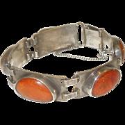 Vintage Hallmarked Amber and 835 German Silver Bracelet