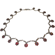 Bohemian Garnet, Marcasite Sterling Silver Necklace