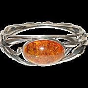 Vintage Baltic Amber Sterling Silver Bracelet