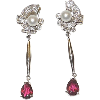 Platinum Diamond, Ruby and Pearl Post Earrings c. 1940's