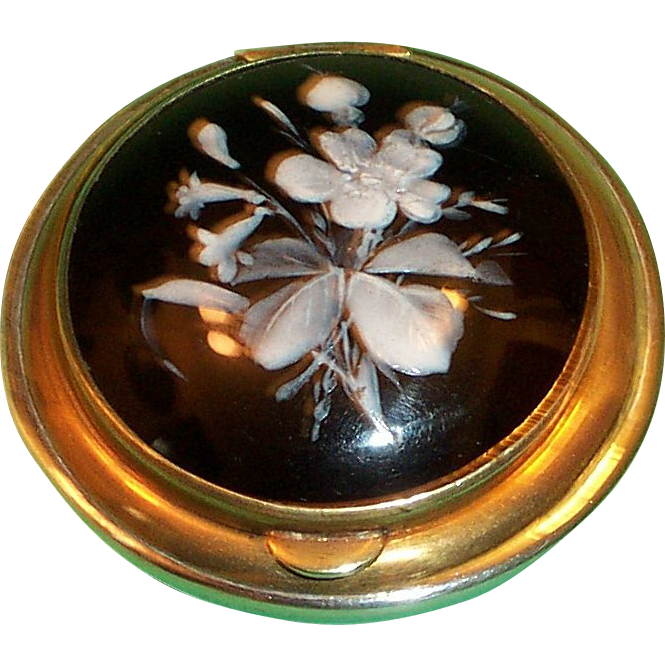 Victorian Patch Box With Enamel Florals On Black Glass