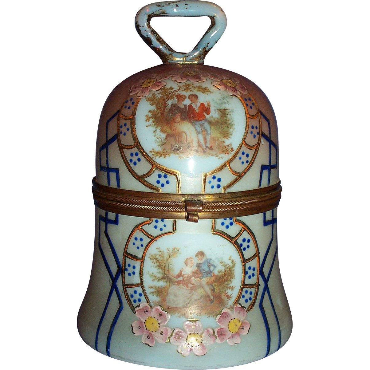1900 Hand Painted Opalescent Glass Bell Shaped Casket