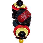 Bakelite, Lucite, and Vintage Button Bracelet with Sterling Clasp